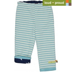 loud + proud - Bio Kinder Wende Sweathose mit Streifen und Hai-Allover