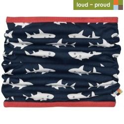 loud + proud - Bio Kinder Loop Schlauchschal mit Hai-Allover, marine