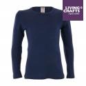 LIVING CRAFTS - Bio Kinder Unterhemd langarm , Wolle/Seide, blau