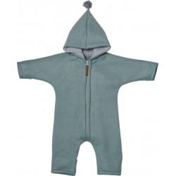 "Kitz Heimat - Bio Baby Fleece Overall ""Juni"" mit Kapuze, mint grey"