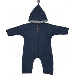"Kitz Heimat - Bio Baby Fleece Overall ""Juni"" mit Kapuze, indigo grey"