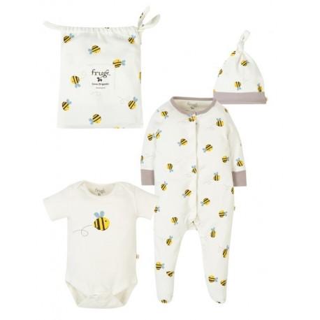 frugi - Bio Baby Set Strampler, Body und Mütze mit Bienen-Motiv