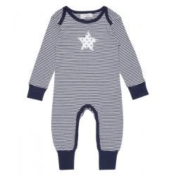 """Sense Organics - Bio Baby Strampler langarm """"Wayan"""" mit Sternen-Applikation und Streifen"""