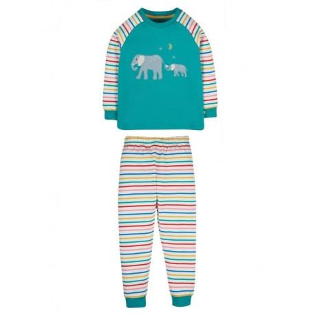 """frugi - Bio Kinder Schlafanzug """"Jamie Jim"""" mit Elefanten-Applikation"""