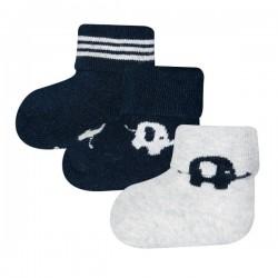 Ewers - Bio Baby Socken 3er-Pack aus Plüsch mit Elefanten-Motiv, marine