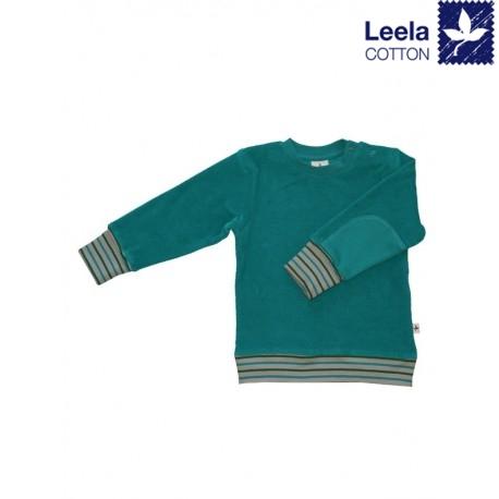 Leela Cotton - Bio Kinder Nicki Sweatshirt, ozeanblau