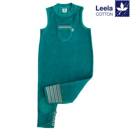 Leela Cotton - Bio Baby Nicky Strampler, ozeanblau