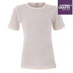 LIVING CRAFTS - Bio Kinder Unterhemd kurzarm, Wolle/Seide, natural