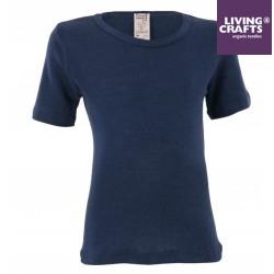 LIVING CRAFTS - Bio Kinder Unterhemd kurzarm , Wolle/Seide, blau