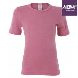 LIVING CRAFTS - Bio Kinder Unterhemd kurzarm, Wolle/Seide, rosa