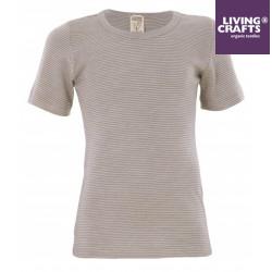 LIVING CRAFTS - Bio Kinder Unterhemd kurzarm gestreift, Wolle/Seide, grau