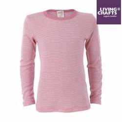 LIVING CRAFTS - Bio Kinder Unterhemd langarm gestreift, Wolle/Seide, rosa