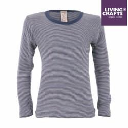LIVING CRAFTS - Bio Kinder Unterhemd langarm gestreift, Wolle/Seide, blau