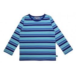 Enfant Terrible - Bio Kinder Langarmshirt mit Streifen, blau-türkis