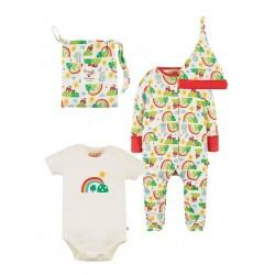 frugi - Bio Baby Set Strampler, Body und Mütze mit Happy Days-Motiv