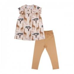 Walkiddy - Bio Baby Set Kleid und Leggings mit Giraffen-Allover