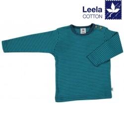 Leela Cotton - Bio Kinder Langarmshirt gestreift, donaublau/lapis