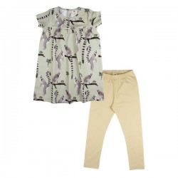 Walkiddy - Bio Baby Set Kleid und Leggings mit Lemuren-Allover