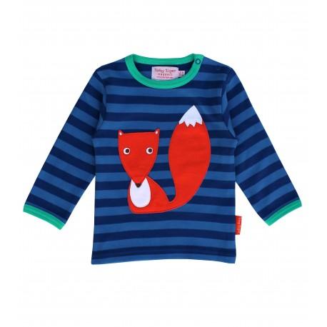 Toby tiger - Bio Baby Langarmshirt mit Fuchs-Motiv und Streifen