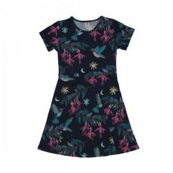 Walkiddy - Bio Kinder Jersey Kleid mit Kolibri-Allover