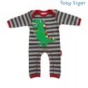 Toby tiger - Bio Baby Strampler mit Dino-Motiv und Streifen