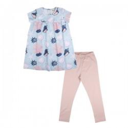 Walkiddy - Bio Baby Set Kleid und Leggings mit Muschel-Allover