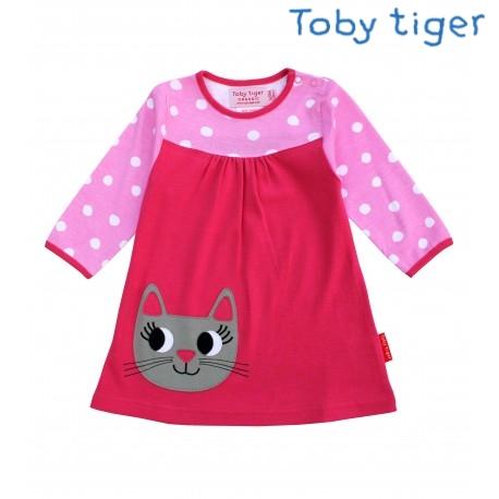 Toby tiger - Bio Kinder Kleid mit Katzen-Motiv und Punkten
