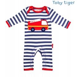 Toby tiger - Bio Baby Strampler mit Feuerwehr-Motiv und Streifen