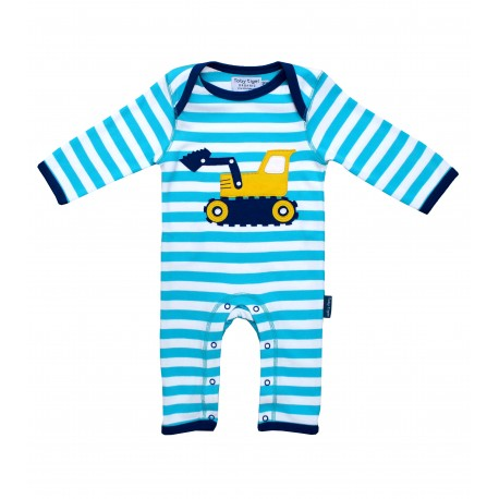 Toby tiger - Bio Baby Strampler mit Bagger-Motiv und Streifen