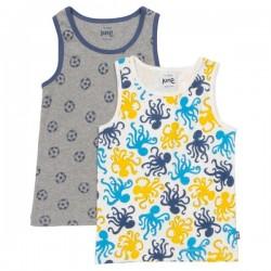 kite kids - Bio Kinder Unterhemden Doppelpack mit Oktopus/Fußball-Motiv