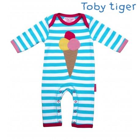 Toby tiger - Bio Baby Strampler mit Eis-Motiv und Streifen