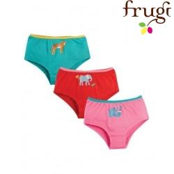 frugi - Bio Kinder 3er Pack Unterhosen mit Tier-Drucken