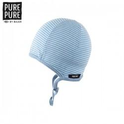 pure pure by BAUER - Bio Baby Erstlingsmütze mit Streifen, nautic/sky