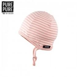 pure pure by BAUER - Bio Baby Erstlingsmütze mit Streifen, peach/rose