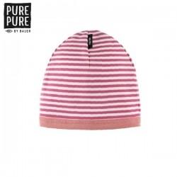 pure pure by BAUER - Bio Kinder Beanie mit Streifen, UPF 30-35, cassis/weiss