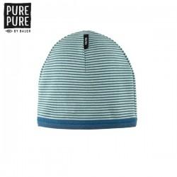 pure pure by BAUER - Bio Kinder Beanie mit Streifen, UPF 30-35, green/mint