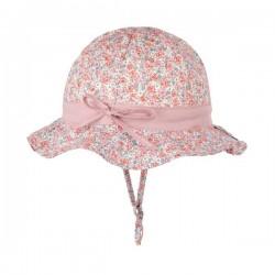 pure pure by BAUER - Bio Kinder Sonnenhut mit Blumen-Muster, UPF 30-35, rosa