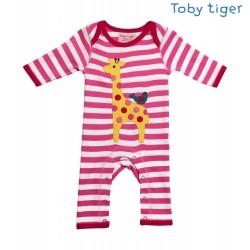 Toby tiger - Bio Baby Strampler mit Giraffen-Motiv und Streifen