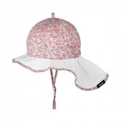 pure pure by BAUER - Bio Kinder Sonnenhut mit Nackenschutz und Blumen-Muster, UPF 30-35, rosa