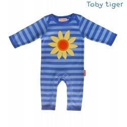 Toby tiger - Bio Baby Strampler mit Sonnenblumen-Motiv und Streifen