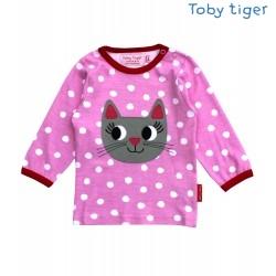 Toby tiger - Bio Baby Langarmshirt mit Katzen-Motiv und Punkten