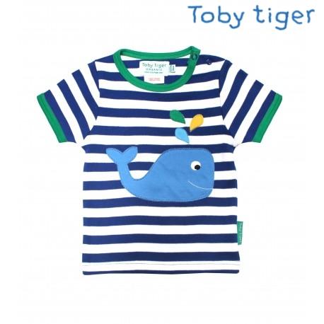 Toby tiger - Bio Baby Langarmshirt mit Wal-Motiv und Streifen