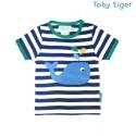 Toby tiger - Bio Baby T-Shirt mit Wal-Motiv und Streifen
