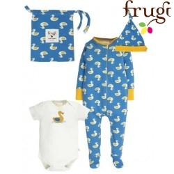 frugi - Bio Baby Set Strampler, Body und Mütze mit Enten-Motiv