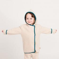 Cheeky Apple - Bio Kinder Fleece Jacke, nude meliert/petrol
