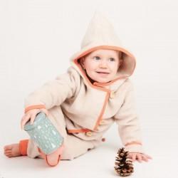 Cheeky Apple - Bio Kinder Fleece Jacke, nude meliert/aprikose