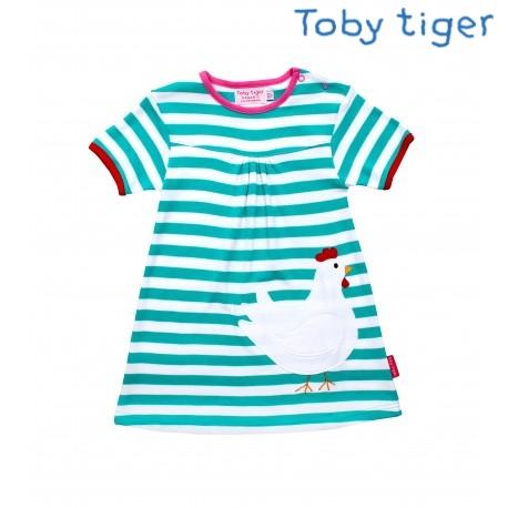Toby tiger - Bio Kinder Kleid mit Hennen-Motiv und Streifen
