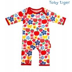Toby tiger - Bio Baby Strampler mit Blumen-Motiv