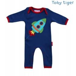Toby tiger - Bio Baby Strampler mit Raketen-Motiv
