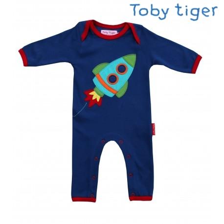 Toby tiger - Bio Baby Strampler mit Raketen-Motiv ...